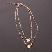 Versione coreana della collana creativa della moda femminile doppio triangolo Lady gioielli All-match semplice regalo datazione girocolli