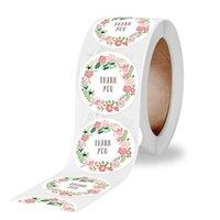 500 stücke Blume danke Aufkleber Runddichtungsaufkleber für Süßigkeiten Geschenkbox Verpackung Tasche Wrap