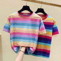 Women's T-Shirt Rainbow Striped Summer Cotton Short Sleeve T Shirt Women Casual Tee Femme Ladies Shirts Womens Clothing 2021 Pink