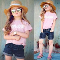 Toddler Baby Girl Clothes Short Sleeve T-Shirt+Denim Shorts 2PCS Outfit Set