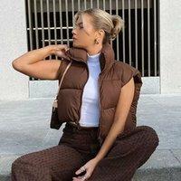 ZXQJ Vintage Kadınlar Kahverengi Kısa Yelekler 2021 İlkbahar Sonbahar Moda Bayanlar Sevimli Kirpi Yelek Mont Tatlı Kızlar Chic Giyim