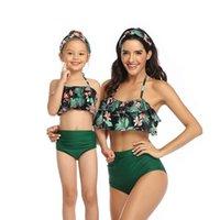 부모 - 자식 수영복 인쇄 된 수영 하이웨이 비키니 2 조각 Falbala 어린이 여성 패션 비치웨어 WMQ849