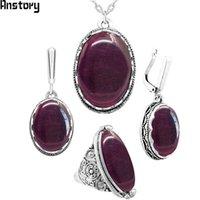 Ovale Transparent Purple Opal Ensemble Collier Boucles d'oreilles Bague Antique Argent Platefacée En acier inoxydable Bijoux de mode