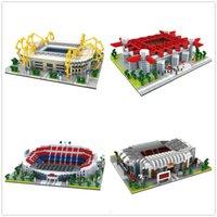 Architettura calcio campo modello mattoni vecchio trafford accampamento nou san sir stadio reale madrid barcellona Building blocks toy x0522