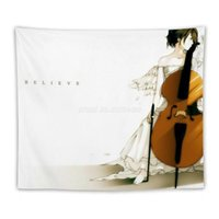 Tapestries Believe Tapestry Wall Hanging Sandy Beach Throw Rug Blanket Camping Tent Sleeping Pad White Music Light Cello