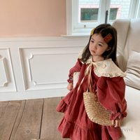 Sweet girls corduroy flare sleeve falbala dress with lace hollow embroidery lace-up Bows shawl 2pcs sets autumn winter children thicken warm princess clothing Q2229