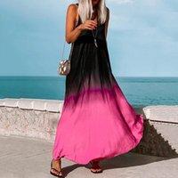 Casual Dresses Women Summer Dress 2021 Boho Gradient Print Long Maxi Sexy Backless Party Beachwear Sundress Vestido Mujer