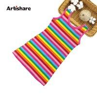 Artishare verão meninas vestido arco-íris cor crianças roupas 100% algodão adolescente vestido vestidos infantis roupas 6 8 10 12 ano q0716