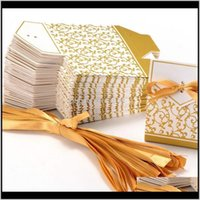 Wrap 10Pcs Creative Golden Sier Ribbon Wedding Favours Paper Box Cookie Candy Gift Bags Event Party Supplies Cce3966 Lmmb Mpgbn