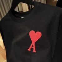 2021ss Fransız Kırmızı Kalp Nakış Kısa Kollu Tişört 1: 1 Yüksek Kalite AMI Erkek Kadın En Tees