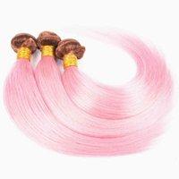Zweifarbige dunkelbraune und rosafarbene menschliche haare bündel ombre farbe seidig gerader jungfrau menschliches haarfuß piano farbe haare 3bundles