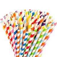100 قطع القش القابلة للتحلل القذيفة-قوس قزح ورقة مخطط القش مناسبة ل عصير، لوازم الحزب والديكور
