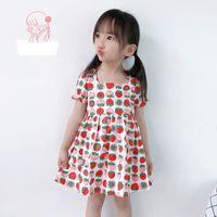 Lovely Flower Printed Girl's Short -Sleeve Dress A-Line Dresses Home Night Skirt Casual Clothing Mini Princess Nightdress for Infant Toddler Baby Kid Girls