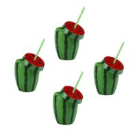 Mugs 4pcs Disposable Watermelon Shape Cup Drinking Cups Party With Lid And Straw