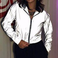 Men Women Night Glowing Streetwear Reflective Jacket Zipper Windbreaker Cropped Coats Hip Hop Outwear Clothes Autumn Long Sleeve Women's Jac