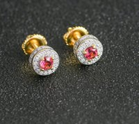Anti-Allergic Earings 925 Sterling Silver Yellow Gold Plated Iced Out Bling Blue Red CZ Earrings for Men dff2796