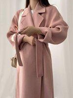 Women's Wool & Blends Women Korean Style Elegant Long Coat With Belt Solid Color Chic Outerwear Ladies Overcoat Autumn Winter Drop