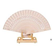 Faltende hölzerne geschnitzte Handwerk Hand Fans Chinesischer klassischer hölzerner Fan für Dekoration Handwerker-Souvenirgeschenke Hochzeits-Favoriten HWF9572