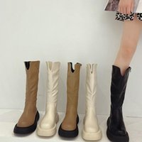 Boots Slim Flat Thigh High Platform Women Thick Sole Knee-High Shoes Black Winter Long Motorcycle