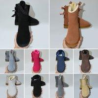 여성 겨울 스노우 부츠 트리플 블랙 체스트넛 핑크 네이비 그레이 패션 클래식 발목 짧은 부팅 여성 숙녀 소녀 부츠 편안한 신발