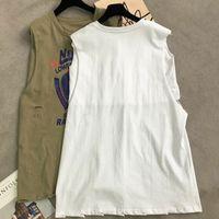 Women's T-Shirt Streetwear Women Tanks Loose Summer Fashion Letter Print Hole Girls Tops Black White Sleeveless New Y2K Female AG2