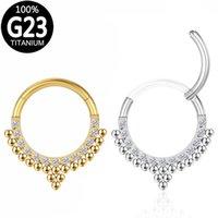 Titanium Nose Ring woman Zircon Ball Hoop Septum Clicker Ear Cartilage Helix Earrings Hinged Segment Nipple Lip Piercing Jewelry
