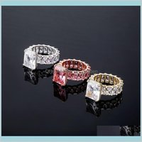 Band Jewelryluxury Bling Zircon For Women Street Fashion 18K Gold Rhodium Plated Geometric Hip Hop Designer Rings Drop Delivery 2021 Zm5Fw
