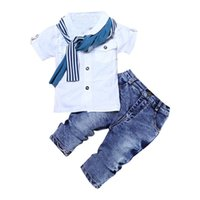 3pc set kids Baby Boy Clothes Casual white T Shirt Scarf Jeans 2021 Summer Child Kids For Toddler Boys Clothes 2 3 4 5 6 year