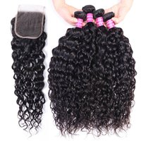 Water Wave Extensions Human Hair Bundles With 4x4 Lace Frontal Closure 10A Remy Hair 4 Bundles