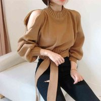 Women Chic Zipper Sexy Strapless Turtleneck Drawstring Sweaters Lantern Sleeve Knitted Pullovers Solid Slim Waist Tops PL368 210507