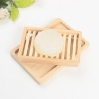 Soap Rack Plate Box Wooden Natural Bamboo Soap Dishes Tray Holder Bathroom Soap Storage Box Drain Plate CCF6856