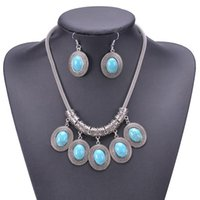 Vintage Jewelry Set Women Alloy Chain Oval Turquoise Pendants Tassel Necklace Earrings For Party Engagement Gift &