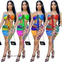 여성 두 조각 드레스 2021 여름 새로운 디자이너 패션 여성의 디지털 인쇄 매달려 목 래핑 된 가슴 레이스 짧은 밖으로 짧은 스커트 정장 lulu365