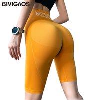 Şort Bivigaos Yaz Yüksek Bel Spor Kadınlar Hızlı Kuruyan Elastik Koşu Fitness Diz Boyu Biker Seksi Egzersiz