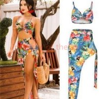 Women Designer Swimsuit Beach Floral Dresses Female Holiday Bras Split Up Dress 2pcs Club Clothing Sets