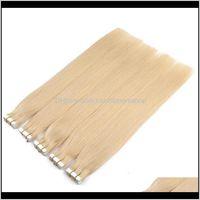 Hautverlängerung Farbe 1 60 in menschliches Unsichtbares Band Remy-Erweiterungen 100G40pieces Brasilianisches Haar Doppel-Seitenkleber 9Hkwy GQ4OJ