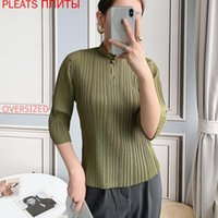 Women's Half-Sleeve Shirt MIYAKE Pleated Mid-Sleeve Chinese Style Republic Of China Retro Stand Collar One Button Blouses & Shirts