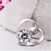 Liebe Herz Anhänger 925 Sterling Silber Hochzeit Halskette Kristall Anhänger Europäische und amerikanische Frauen Damen Schmuck Mode Koreanisch 312 J2