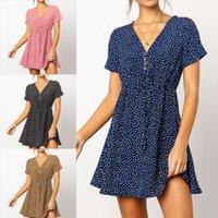 Dresses 2021 Fashion V-neck Belt Short Sleeve Printed Chiffon Dress discount in limited time fashion temperament straps Dew shoulder