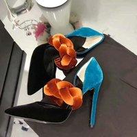 드레스 신발 브랜드 디자이너 여성 혼합 색상 뾰족한 발가락 벨벳 여성 펌프 웨딩 파티 스타 활 나이트 클럽