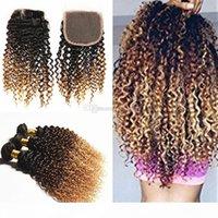 Ombre marrón rubio cabello humano 3 paquetes con cierre de encaje 1b 4 27 tejidos de pelo rizado escarpado con cierre de encaje