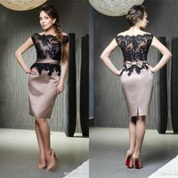 Modest Black Lace Bateau Neck Mother of the Bride Dresses with Bow Buttons Back Cocktail Party Gowns Short Prom Dress