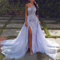 Lilac One Shoulder Prom Dresses With Appliques Beads Sequins A Line Cheap Evening Dress Women Wear Custom Made Cocktail Gowns1