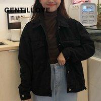Gentillave vintage jean abrigo coreano harajuku suelto chaquetas mujeres negro denim jeckets casual salvaje bf bf bof streetwear 210421