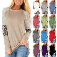 Autumn Women's 2021 New Leopard Pattern Color Matching Stripe Round Neck Loose Top Long Sleeve T-shirt