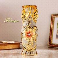 Vases European Gilded Frosty Porcelain Vase Retro Advanced Ceramic Room Study Corridor Home Wedding Decoration