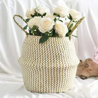 Hanging Baskets Straw Basket Flower Pot Natural Woven Tote Belly With Handle Folding Plant Dirty For Home Decor