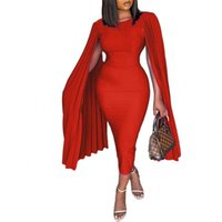Women Fashion Cloak Sleeve Pleated Bodycon Midi Plus Size Dress Business Pencil Dinner Robe Vestidos African Work Clothing Casual Dresses