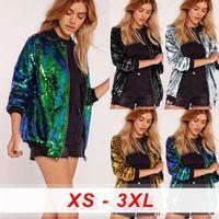 Femmes Femmes Sequins Col V-Col Baseball Manteau Bomber Femelle Jacket Zipper Streetwear Potential Glitter Grand plus Taille Vêtements de femmes Vêtements pour femmes