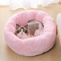 Kennels & Pens CANILE Deep Sleep Dog House Velvet Mats Sofa For Basket Pet Bed Super Soft Washable Long Plush Kennel